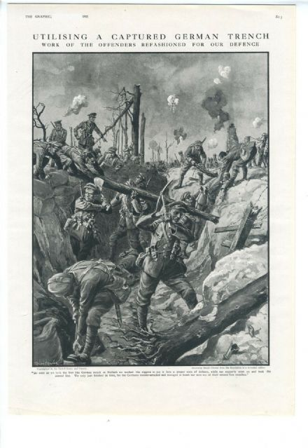 1915 WW1 Print HULLACH FRANCE Captured First Line German Trench BRITISH SOLDIERS